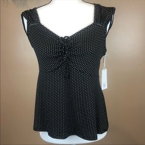 Candie's black tank ruched tie front